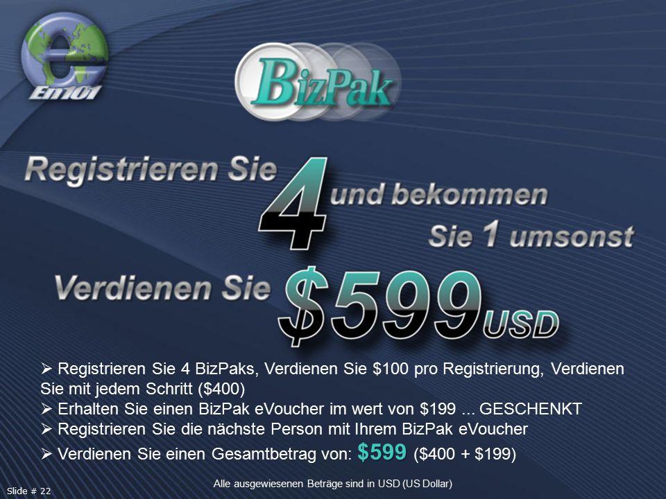  Registrieren Sie 4 BizPaks, Verdienen Sie $100 pro Registrierung, Verdienen Sie mit jedem Schritt ($400)  Erhalten Sie einen BizPak eVoucher im wert von $199...