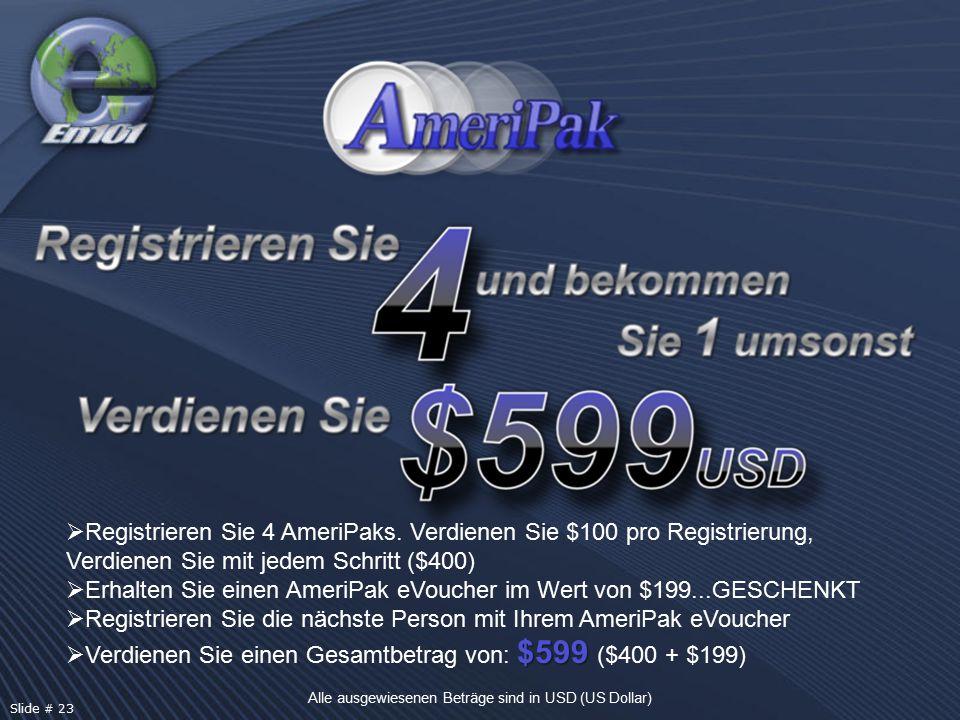  Registrieren Sie 4 AmeriPaks. Verdienen Sie $100 pro Registrierung, Verdienen Sie mit jedem Schritt ($400)  Erhalten Sie einen AmeriPak eVoucher im