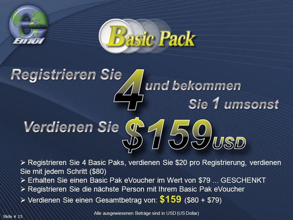  Registrieren Sie 4 Basic Paks, verdienen Sie $20 pro Registrierung, verdienen Sie mit jedem Schritt ($80)  Erhalten Sie einen Basic Pak eVoucher im Wert von $79...