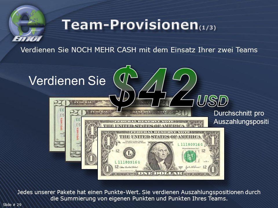 Jedes unserer Pakete hat einen Punkte-Wert. Sie verdienen Auszahlungspositionen durch die Summierung von eigenen Punkten und Punkten Ihres Teams. Verd
