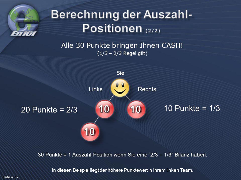 """Alle 30 Punkte bringen Ihnen CASH! (1/3 – 2/3 Regel gilt) 20 Punkte = 2/3 10 Punkte = 1/3 30 Punkte = 1 Auszahl-Position wenn Sie eine """"2/3 – 1/3"""" Bil"""