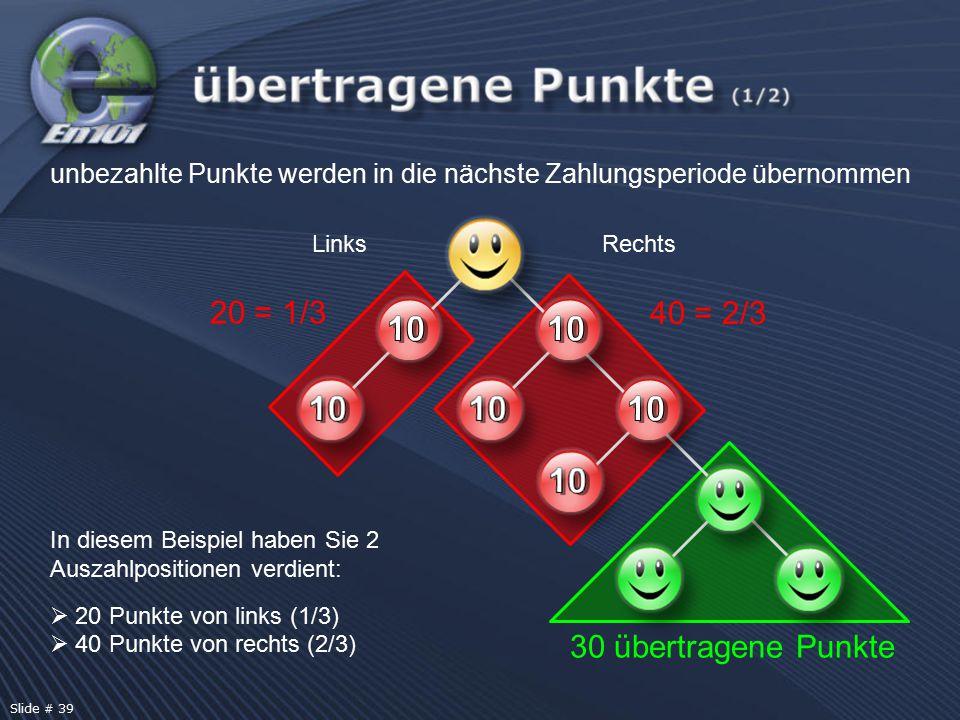 In diesem Beispiel haben Sie 2 Auszahlpositionen verdient:  20 Punkte von links (1/3)  40 Punkte von rechts (2/3) unbezahlte Punkte werden in die nächste Zahlungsperiode übernommen 20 = 1/3 40 = 2/3 LinksRechts 30 übertragene Punkte Slide # 39