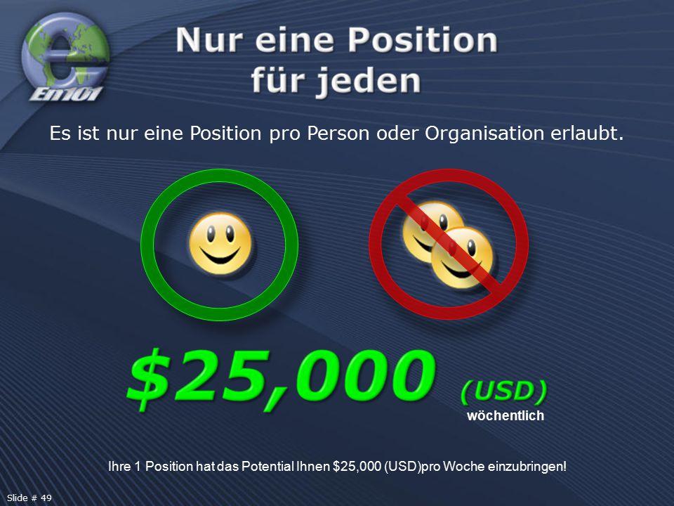 Ihre 1 Position hat das Potential Ihnen $25,000 (USD)pro Woche einzubringen! wöchentlich Es ist nur eine Position pro Person oder Organisation erlaubt
