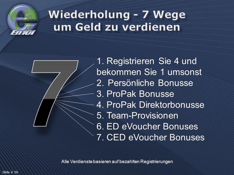 Alle Verdienste basieren auf bezahlten Registrierungen Slide # 50 1. Registrieren Sie 4 und bekommen Sie 1 umsonst 2. Persönliche Bonusse 3. ProPak Bo