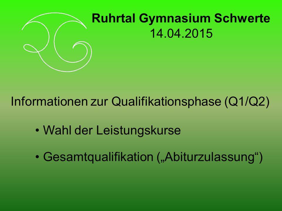 """Informationen zur Qualifikationsphase (Q1/Q2) Wahl der Leistungskurse Gesamtqualifikation (""""Abiturzulassung ) Ruhrtal Gymnasium Schwerte 14.04.2015"""