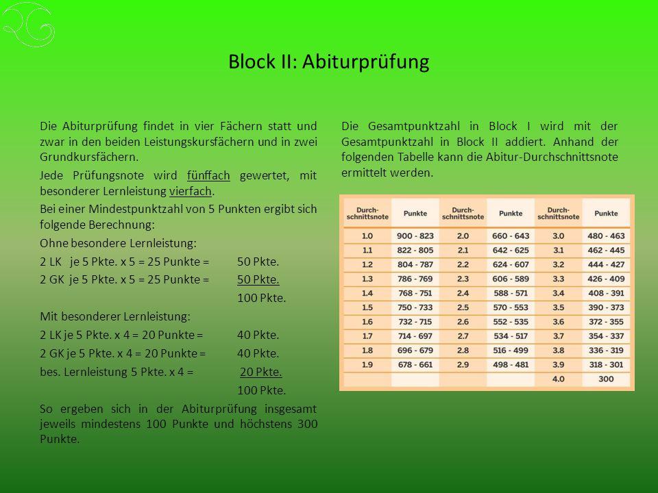 Block II: Abiturprüfung Die Abiturprüfung findet in vier Fächern statt und zwar in den beiden Leistungskursfächern und in zwei Grundkursfächern.