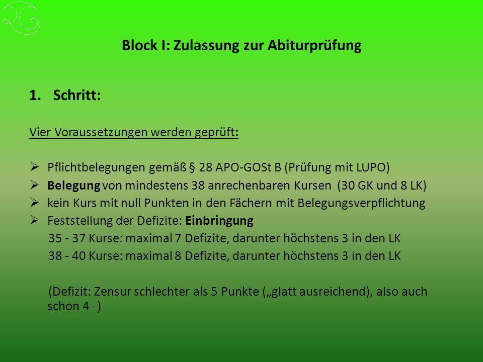 """Block I: Zulassung zur Abiturprüfung 1.Schritt: Vier Voraussetzungen werden geprüft:  Pflichtbelegungen gemäß § 28 APO-GOSt B (Prüfung mit LUPO)  Belegung von mindestens 38 anrechenbaren Kursen (30 GK und 8 LK)  kein Kurs mit null Punkten in den Fächern mit Belegungsverpflichtung  Feststellung der Defizite: Einbringung 35 - 37 Kurse: maximal 7 Defizite, darunter höchstens 3 in den LK 38 - 40 Kurse: maximal 8 Defizite, darunter höchstens 3 in den LK (Defizit: Zensur schlechter als 5 Punkte (""""glatt ausreichend), also auch schon 4  )"""