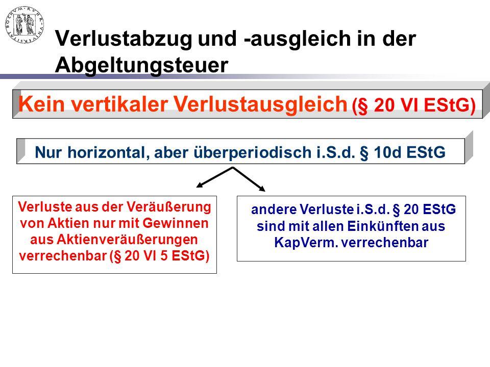 Verlustabzug und -ausgleich in der Abgeltungsteuer Kein vertikaler Verlustausgleich (§ 20 VI EStG) Nur horizontal, aber überperiodisch i.S.d. § 10d ES