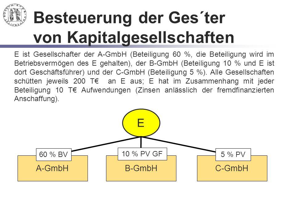 Besteuerung der Ges´ter von Kapitalgesellschaften E E ist Gesellschafter der A-GmbH (Beteiligung 60 %, die Beteiligung wird im Betriebsvermögen des E