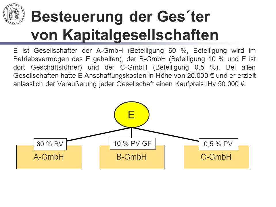 Besteuerung der Ges´ter von Kapitalgesellschaften E E ist Gesellschafter der A-GmbH (Beteiligung 60 %, Beteiligung wird im Betriebsvermögen des E geha