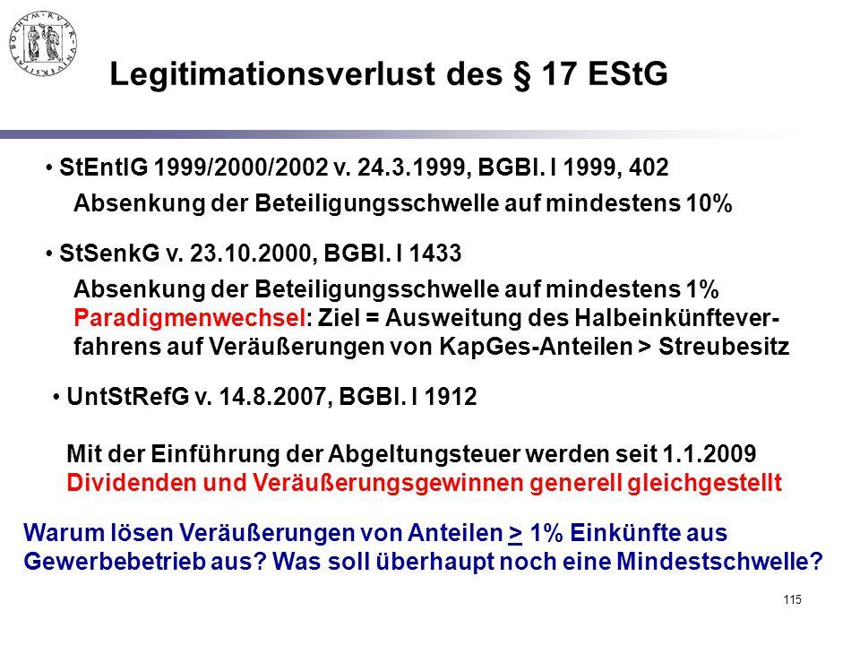 115 Legitimationsverlust des § 17 EStG StEntlG 1999/2000/2002 v. 24.3.1999, BGBl. I 1999, 402 Absenkung der Beteiligungsschwelle auf mindestens 10% St