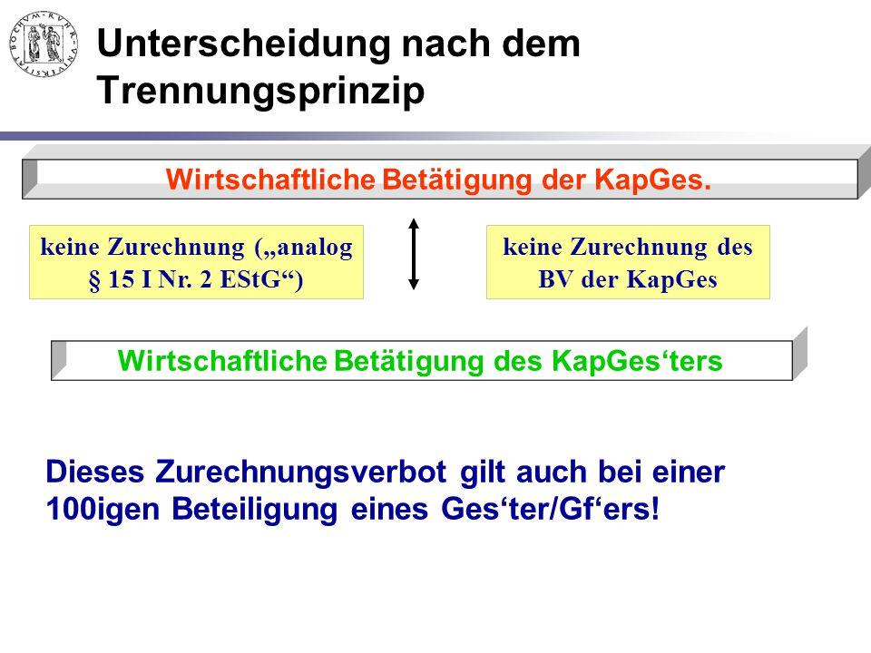 """Unterscheidung nach dem Trennungsprinzip Wirtschaftliche Betätigung der KapGes. Wirtschaftliche Betätigung des KapGes'ters keine Zurechnung (""""analog §"""