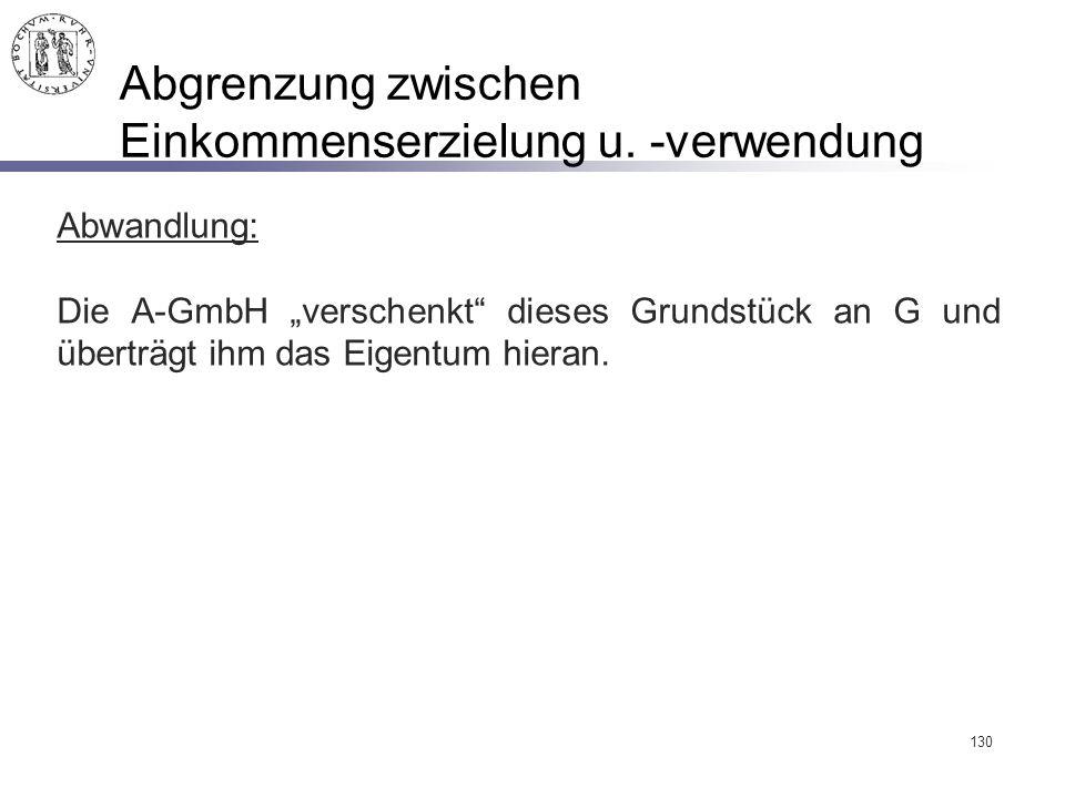 """130 Abgrenzung zwischen Einkommenserzielung u. -verwendung Abwandlung: Die A-GmbH """"verschenkt"""" dieses Grundstück an G und überträgt ihm das Eigentum h"""