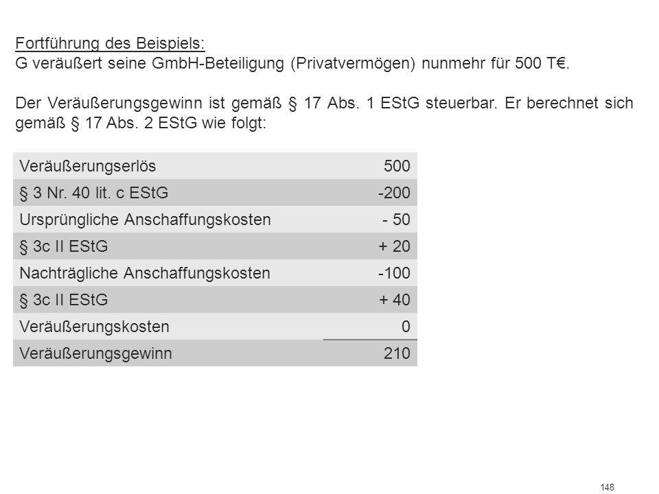 148 Abgrenzung zwischen Einkommenserzielung u. -verwendung Fortführung des Beispiels: G veräußert seine GmbH-Beteiligung (Privatvermögen) nunmehr für