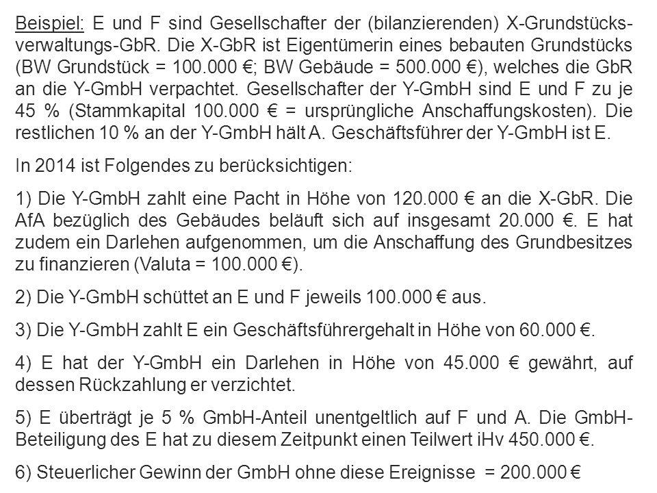 Abgrenzung zwischen Einkommenserzielung u. -verwendung Beispiel: E und F sind Gesellschafter der (bilanzierenden) X-Grundstücks- verwaltungs-GbR. Die