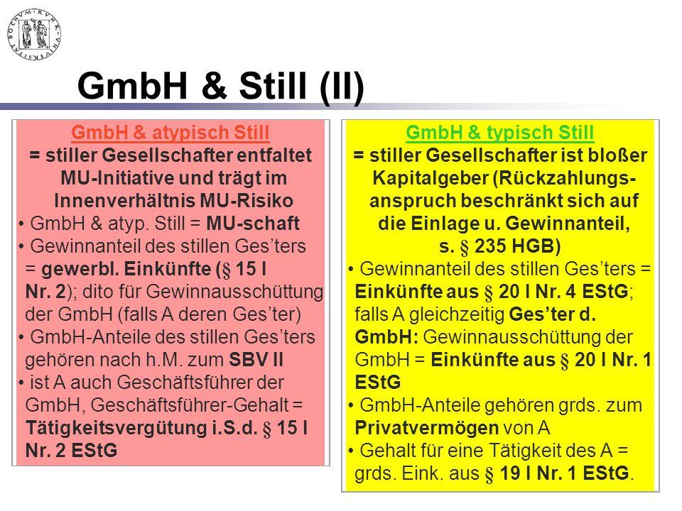 166 GmbH & Still (II) GmbH & atypisch Still = stiller Gesellschafter entfaltet MU-Initiative und trägt im Innenverhältnis MU-Risiko GmbH & atyp. Still