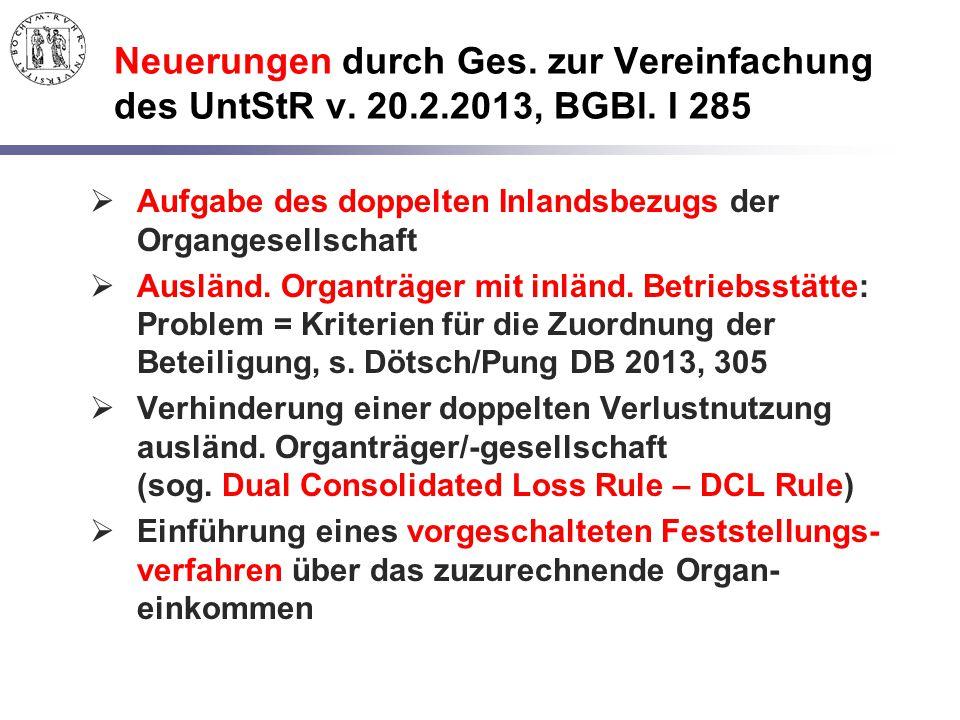 Neuerungen durch Ges. zur Vereinfachung des UntStR v. 20.2.2013, BGBl. I 285  Aufgabe des doppelten Inlandsbezugs der Organgesellschaft  Ausländ. Or