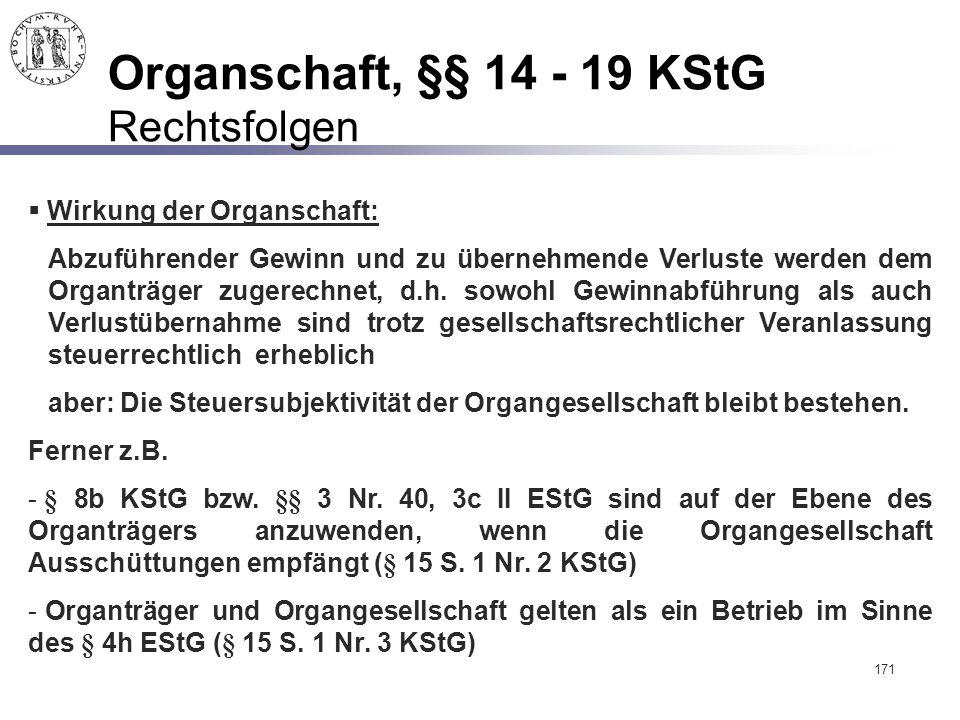 171 Organschaft, §§ 14 - 19 KStG Rechtsfolgen  Wirkung der Organschaft: Abzuführender Gewinn und zu übernehmende Verluste werden dem Organträger zuge