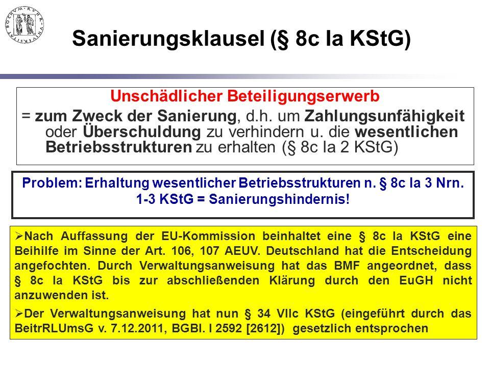 Sanierungsklausel (§ 8c Ia KStG) Unschädlicher Beteiligungserwerb = zum Zweck der Sanierung, d.h. um Zahlungsunfähigkeit oder Überschuldung zu verhind