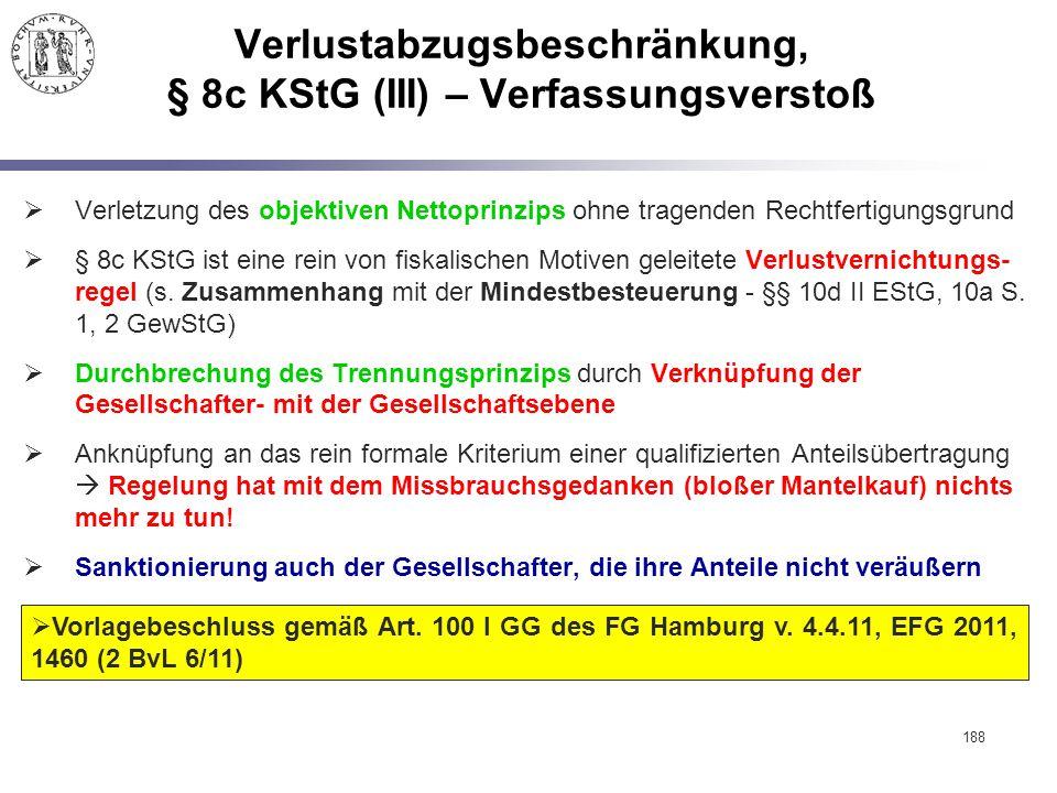 188 Verlustabzugsbeschränkung, § 8c KStG (III) – Verfassungsverstoß  Verletzung des objektiven Nettoprinzips ohne tragenden Rechtfertigungsgrund  §