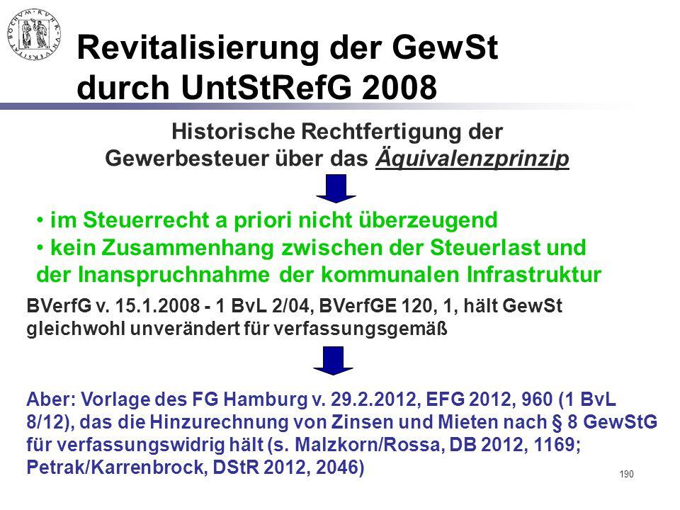 190 Revitalisierung der GewSt durch UntStRefG 2008 Historische Rechtfertigung der Gewerbesteuer über das Äquivalenzprinzip im Steuerrecht a priori nic