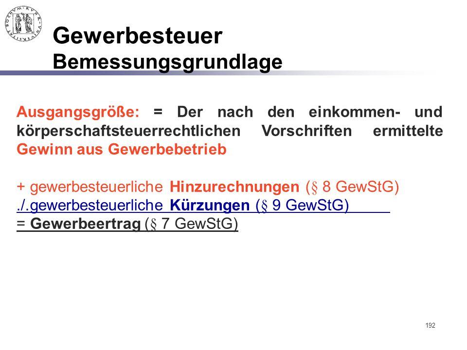 192 Gewerbesteuer Bemessungsgrundlage Ausgangsgröße: = Der nach den einkommen- und körperschaftsteuerrechtlichen Vorschriften ermittelte Gewinn aus Ge