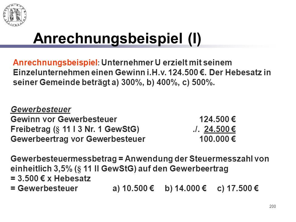 200 Anrechnungsbeispiel (I) Anrechnungsbeispiel : Unternehmer U erzielt mit seinem Einzelunternehmen einen Gewinn i.H.v. 124.500 €. Der Hebesatz in se