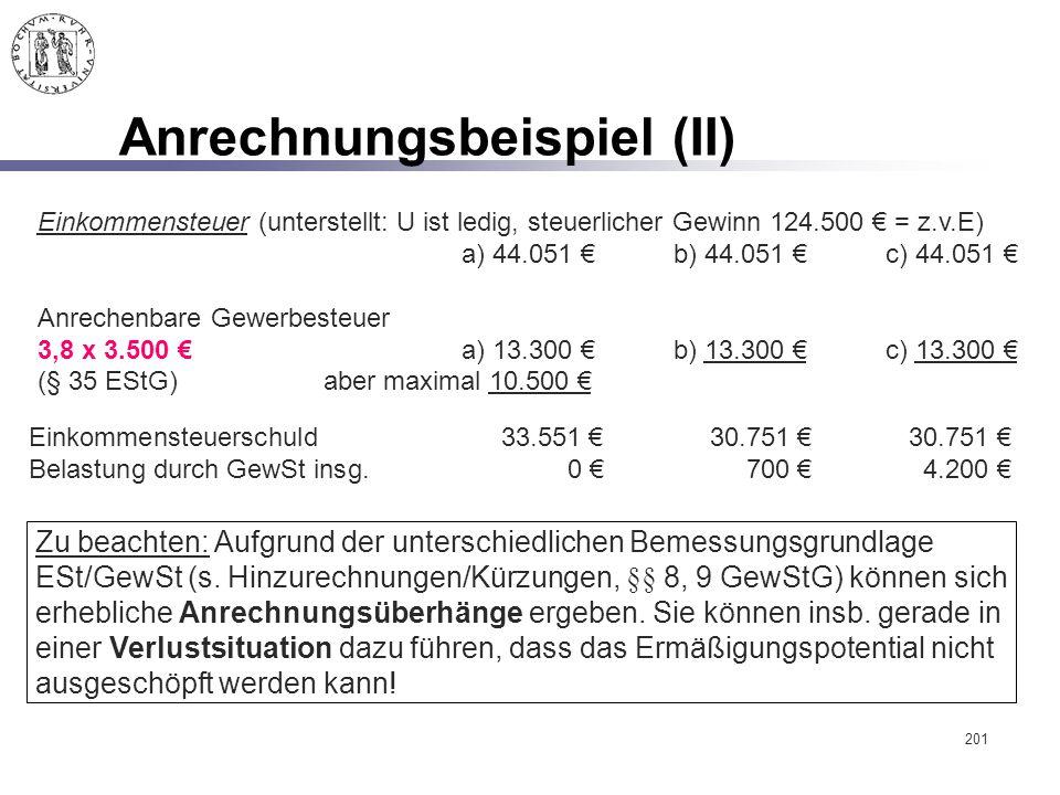 201 Anrechnungsbeispiel (II) Einkommensteuer (unterstellt: U ist ledig, steuerlicher Gewinn 124.500 € = z.v.E) a) 44.051 €b) 44.051 €c) 44.051 € Anrec