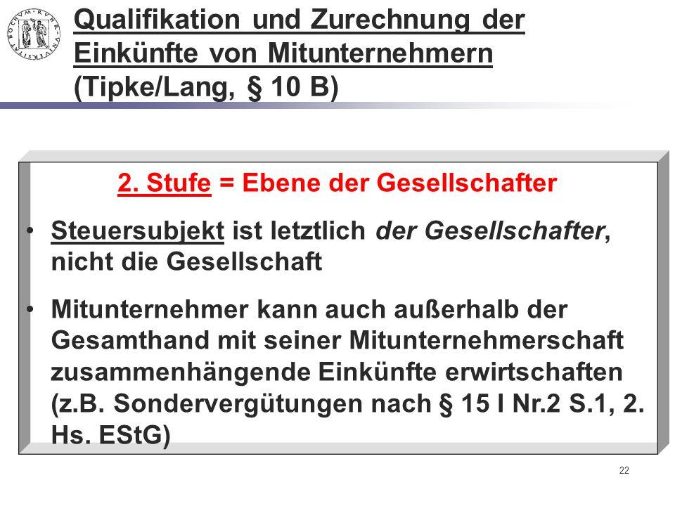 22 2. Stufe = Ebene der Gesellschafter Steuersubjekt ist letztlich der Gesellschafter, nicht die Gesellschaft Mitunternehmer kann auch außerhalb der G