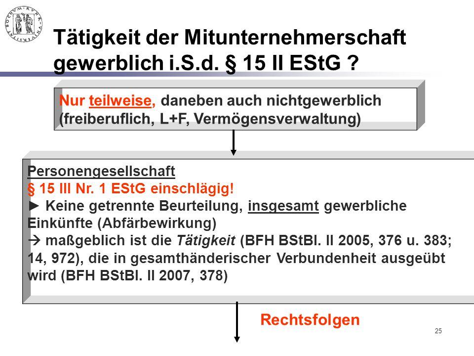 25 Tätigkeit der Mitunternehmerschaft gewerblich i.S.d. § 15 II EStG ? Nur teilweise, daneben auch nichtgewerblich (freiberuflich, L+F, Vermögensverwa
