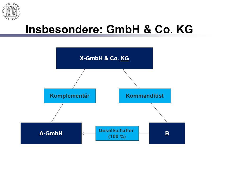 Insbesondere: GmbH & Co. KG X-GmbH & Co. KG A-GmbHB KomplementärKommanditist Gesellschafter (100 %)