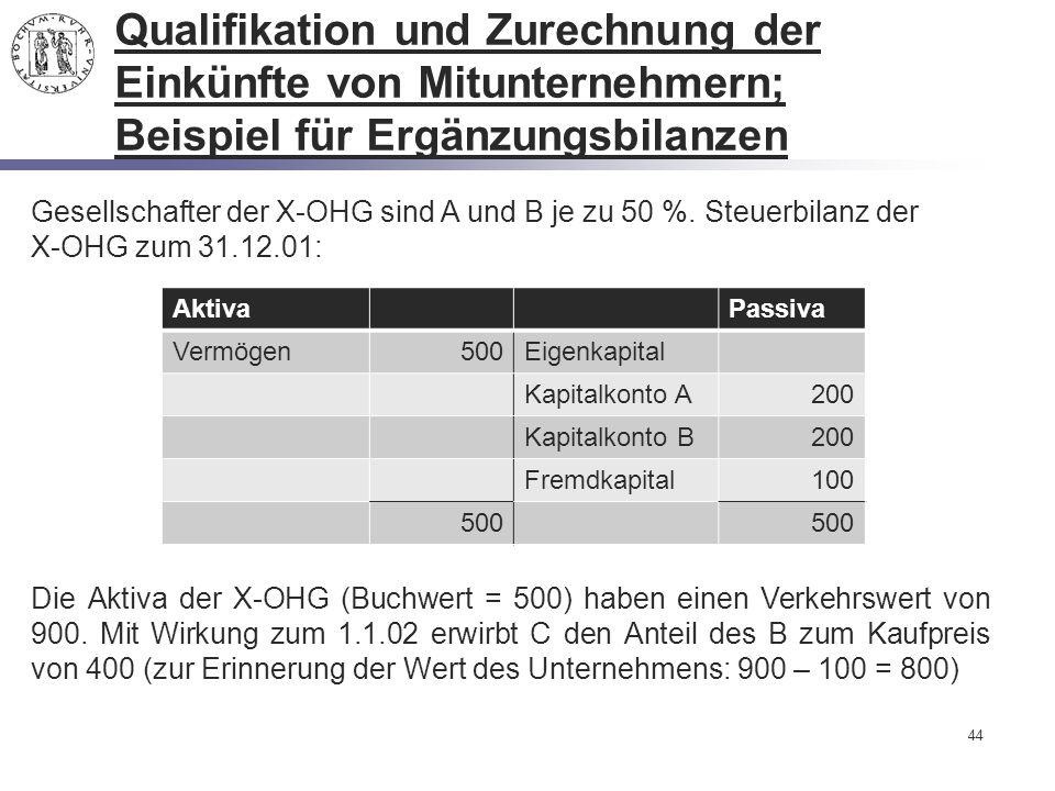 44 Qualifikation und Zurechnung der Einkünfte von Mitunternehmern; Beispiel für Ergänzungsbilanzen Gesellschafter der X-OHG sind A und B je zu 50 %. S