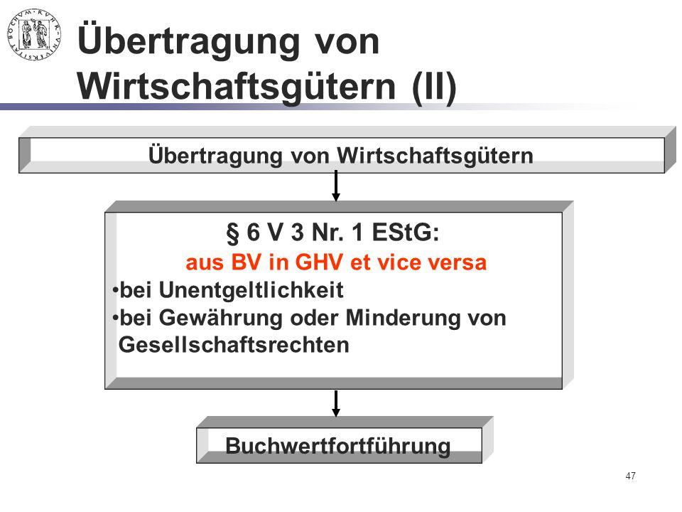 47 Übertragung von Wirtschaftsgütern (II) Übertragung von Wirtschaftsgütern Buchwertfortführung § 6 V 3 Nr. 1 EStG: aus BV in GHV et vice versa bei Un