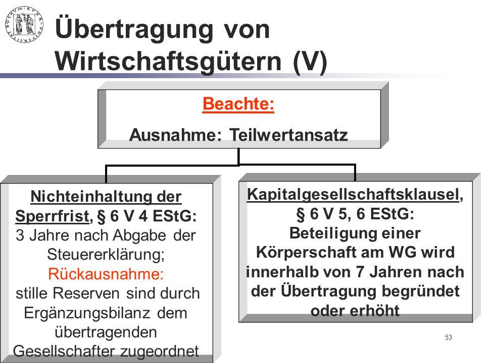 53 Übertragung von Wirtschaftsgütern (V) Beachte: Ausnahme: Teilwertansatz Kapitalgesellschaftsklausel, § 6 V 5, 6 EStG: Beteiligung einer Körperschaf