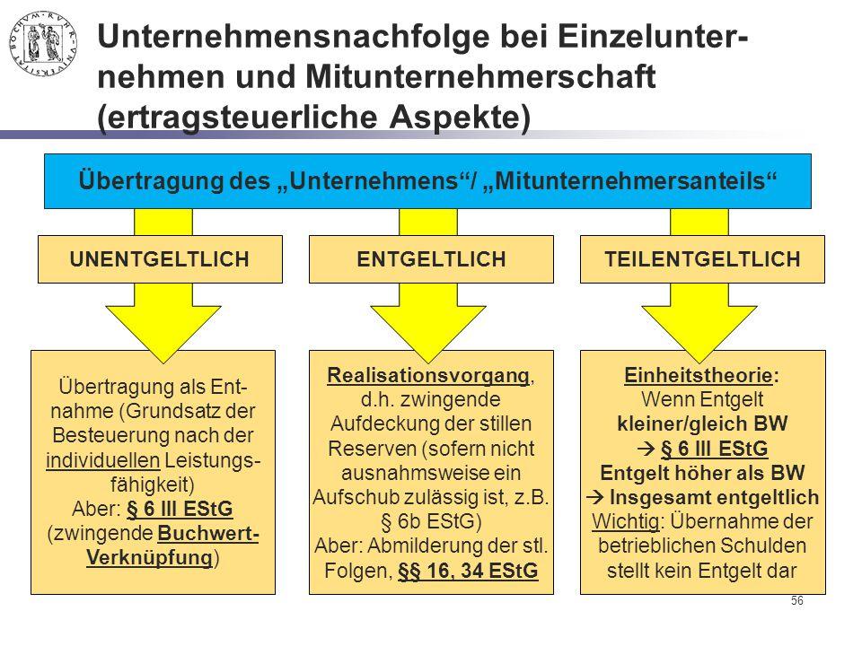 Einheitstheorie: Wenn Entgelt kleiner/gleich BW  § 6 III EStG Entgelt höher als BW  Insgesamt entgeltlich Wichtig: Übernahme der betrieblichen Schul