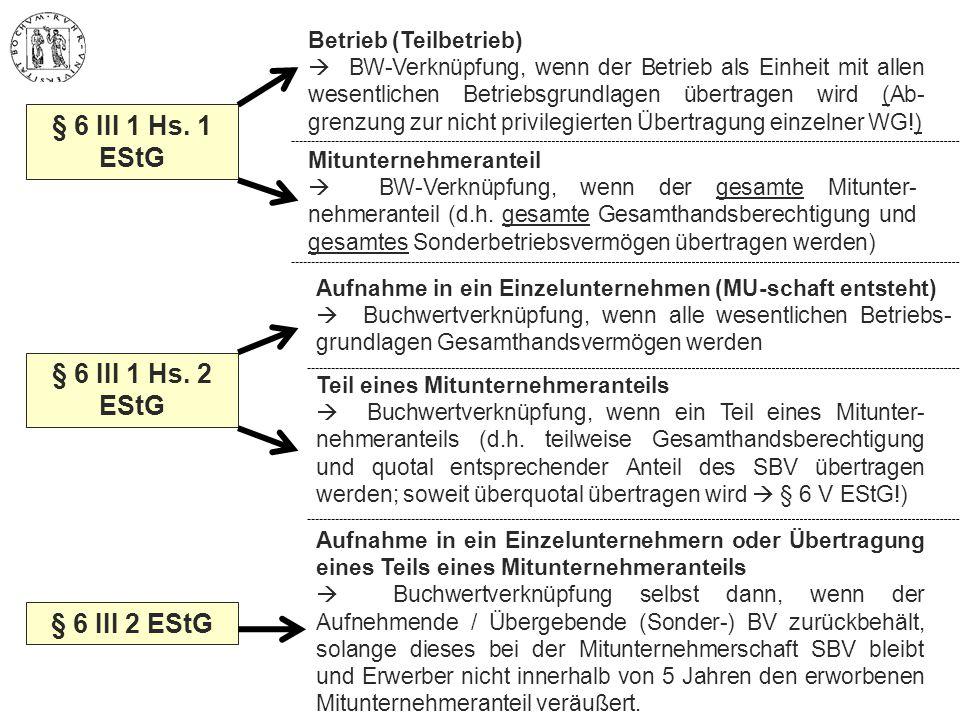 § 6 III 1 Hs. 1 EStG Mitunternehmeranteil  BW-Verknüpfung, wenn der gesamte Mitunter- nehmeranteil (d.h. gesamte Gesamthandsberechtigung und gesamtes