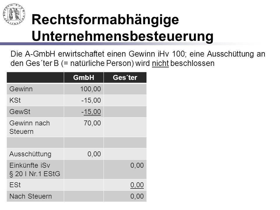 Rechtsformabhängige Unternehmensbesteuerung Die A-GmbH erwirtschaftet einen Gewinn iHv 100; eine Ausschüttung an den Ges´ter B (= natürliche Person) w