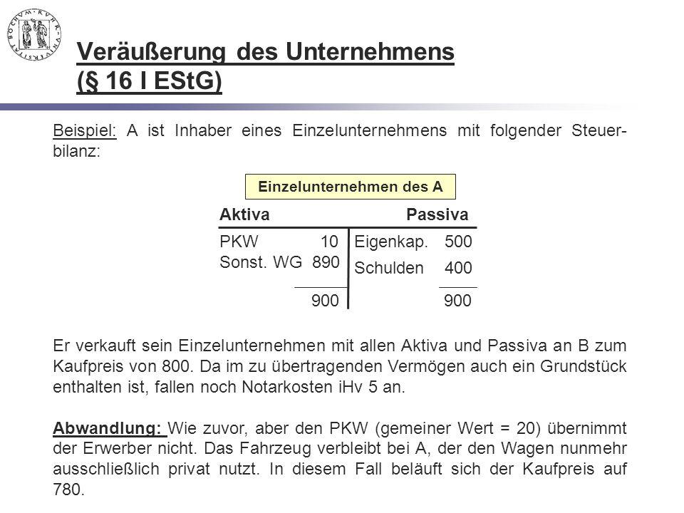 Beispiel: A ist Inhaber eines Einzelunternehmens mit folgender Steuer- bilanz: 900 900 PKW 10 Sonst. WG 890 Eigenkap. 500 Schulden 400 AktivaPassiva E