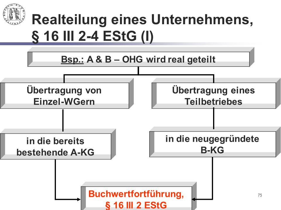 75 Realteilung eines Unternehmens, § 16 III 2-4 EStG (I) Bsp.: A & B – OHG wird real geteilt Übertragung von Einzel-WGern in die bereits bestehende A-