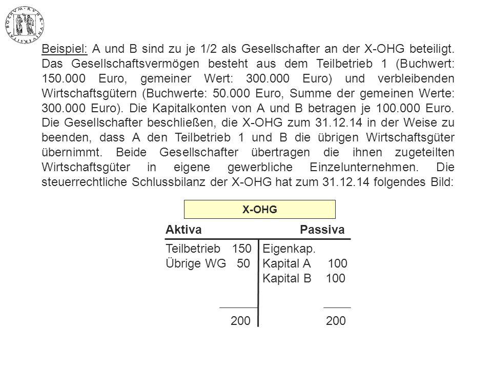 Beispiel: A und B sind zu je 1/2 als Gesellschafter an der X-OHG beteiligt. Das Gesellschaftsvermögen besteht aus dem Teilbetrieb 1 (Buchwert: 150.000