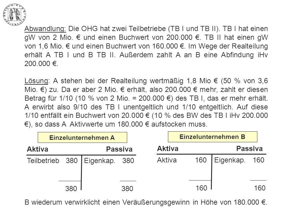 Abwandlung: Die OHG hat zwei Teilbetriebe (TB I und TB II). TB I hat einen gW von 2 Mio. € und einen Buchwert von 200.000 €. TB II hat einen gW von 1,