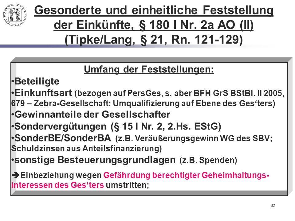 82 Gesonderte und einheitliche Feststellung der Einkünfte, § 180 I Nr. 2a AO (II) (Tipke/Lang, § 21, Rn. 121-129) Umfang der Feststellungen: Beteiligt