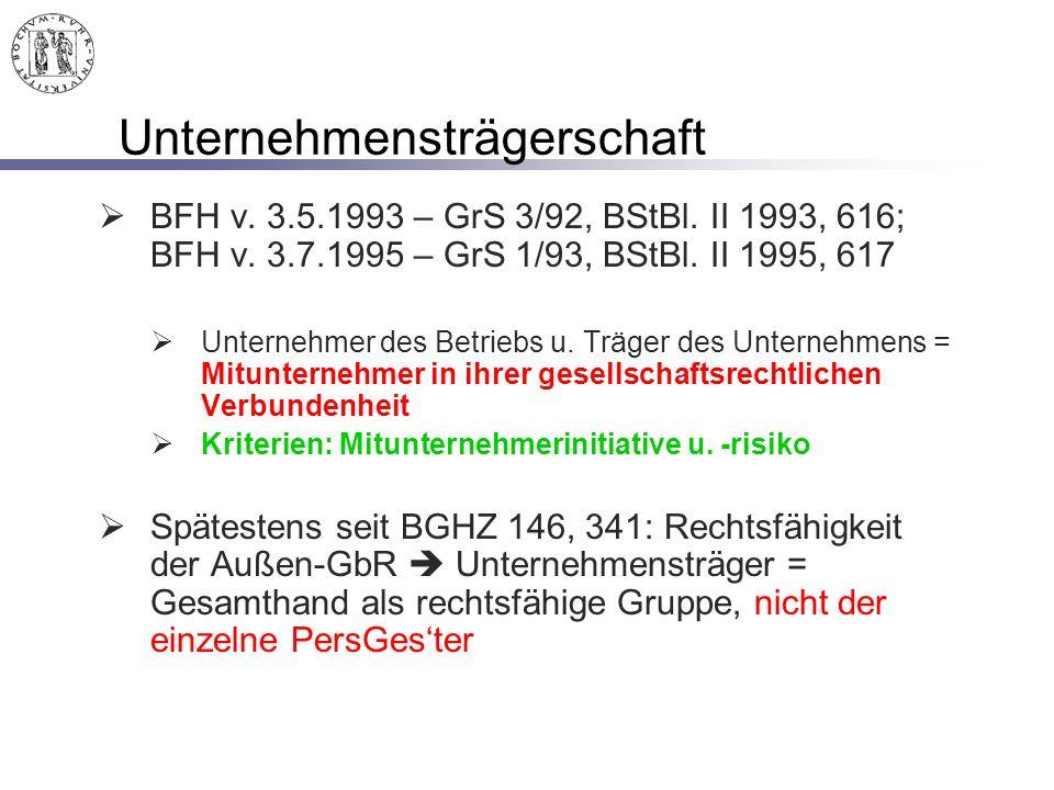 Unternehmensträgerschaft  BFH v. 3.5.1993 – GrS 3/92, BStBl. II 1993, 616; BFH v. 3.7.1995 – GrS 1/93, BStBl. II 1995, 617  Unternehmer des Betriebs