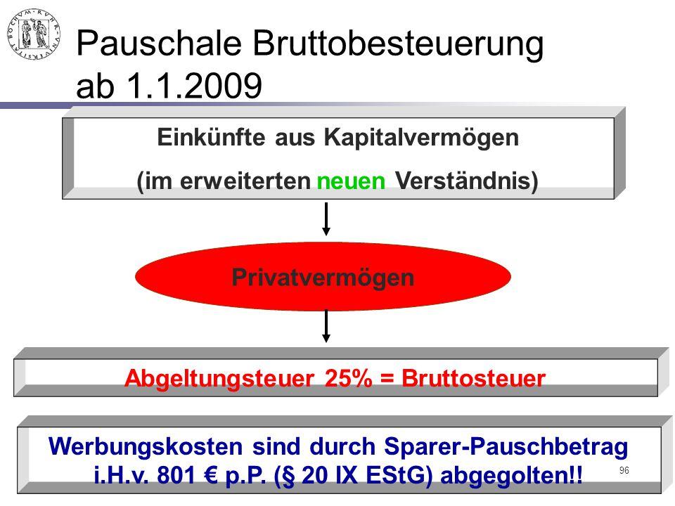 96 Pauschale Bruttobesteuerung ab 1.1.2009 Einkünfte aus Kapitalvermögen (im erweiterten neuen Verständnis) Privatvermögen Abgeltungsteuer 25% = Brutt