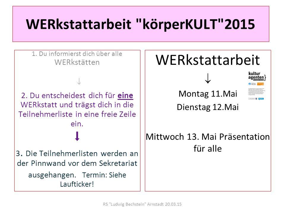 RS Ludwig Bechstein Arnstadt 20.03.15 WERkstattarbeit 2015 KommunikationsKULTur Du möchtest exklusiv von unseren WERKstätten berichten.