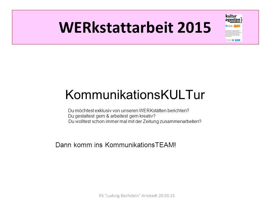 RS Ludwig Bechstein Arnstadt 20.03.15 WERkstattarbeit 2015 Die schnellste Rückschlagsportart der Welt wartet auf dich.