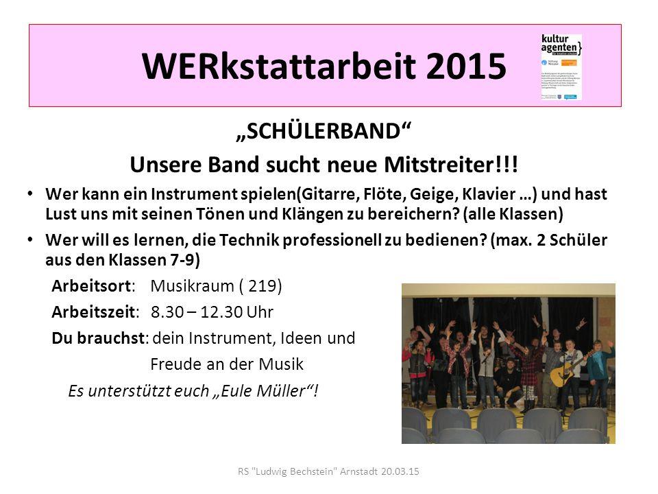 RS Ludwig Bechstein Arnstadt 20.03.15 WERkstattarbeit 2015 Escola Popular: SAMBA Hast du Spaß an Bewegung, Trommeln und Musik.