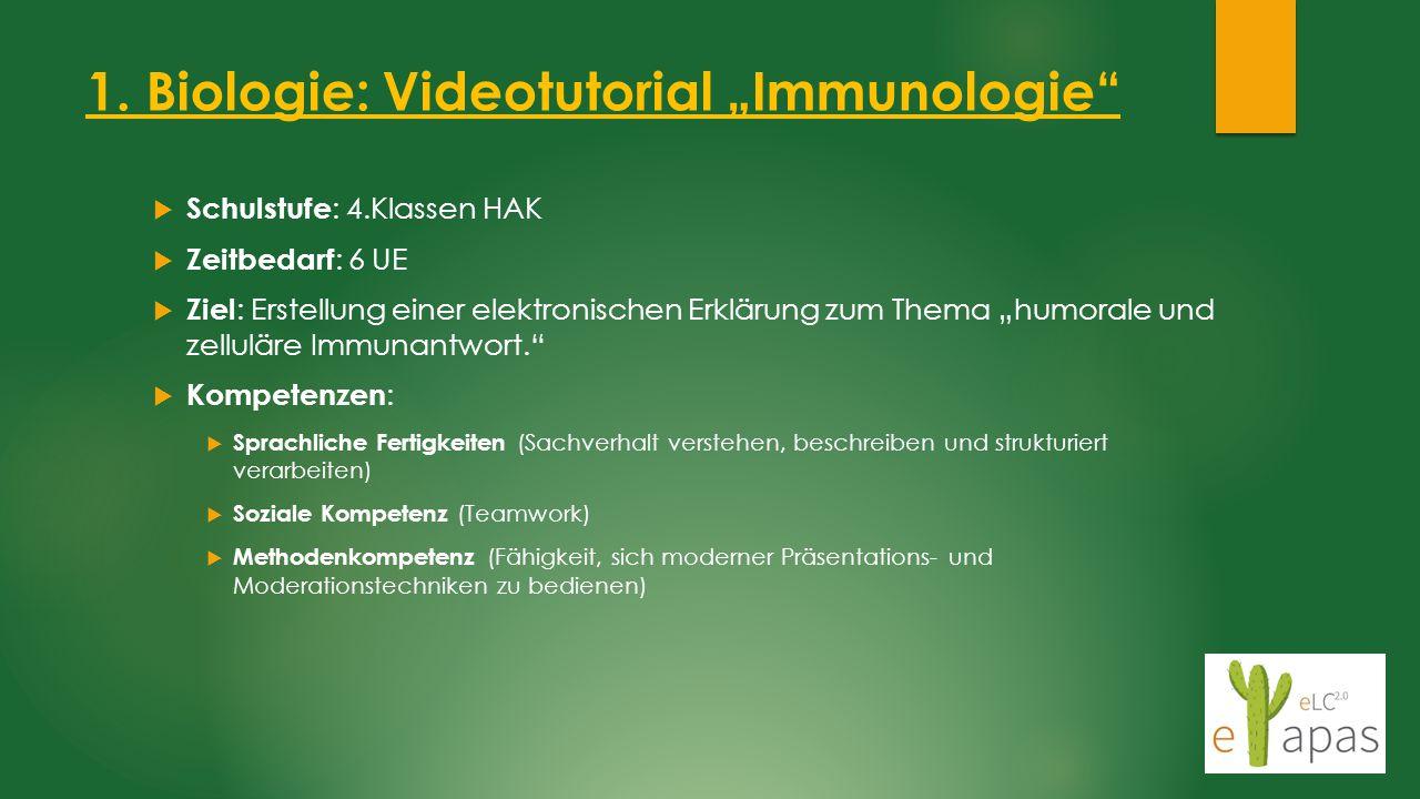 """1. Biologie: Videotutorial """"Immunologie""""  Schulstufe : 4.Klassen HAK  Zeitbedarf : 6 UE  Ziel : Erstellung einer elektronischen Erklärung zum Thema"""