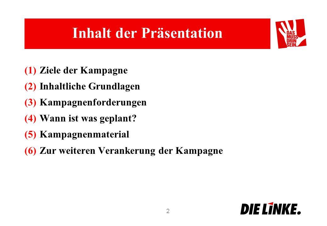 Inhalt der Präsentation (1)Ziele der Kampagne (2)Inhaltliche Grundlagen (3)Kampagnenforderungen (4)Wann ist was geplant? (5)Kampagnenmaterial (6)Zur w