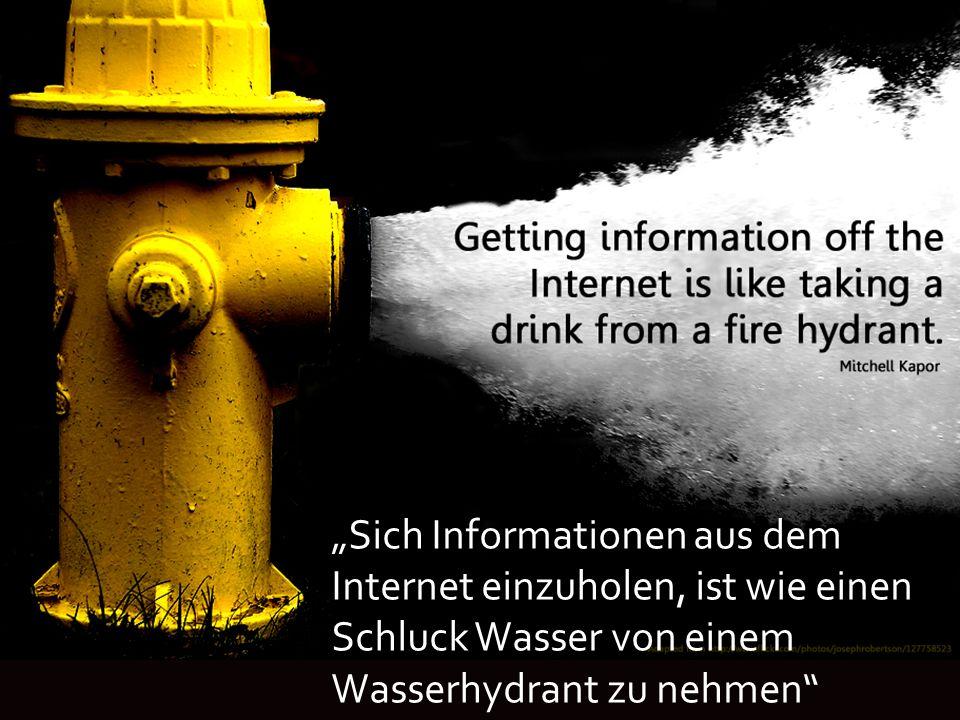 """""""Sich Informationen aus dem Internet einzuholen, ist wie einen Schluck Wasser von einem Wasserhydrant zu nehmen"""